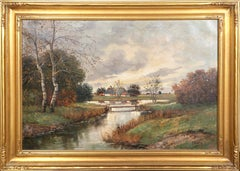 Country Landscape, Victorian Landscape Painting by R. Krotter