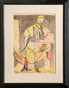 Figure with Bird, Watercolor by Romare Bearden c1946