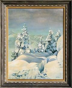 Snowy Mountain Landscape, Oil Painting c1935