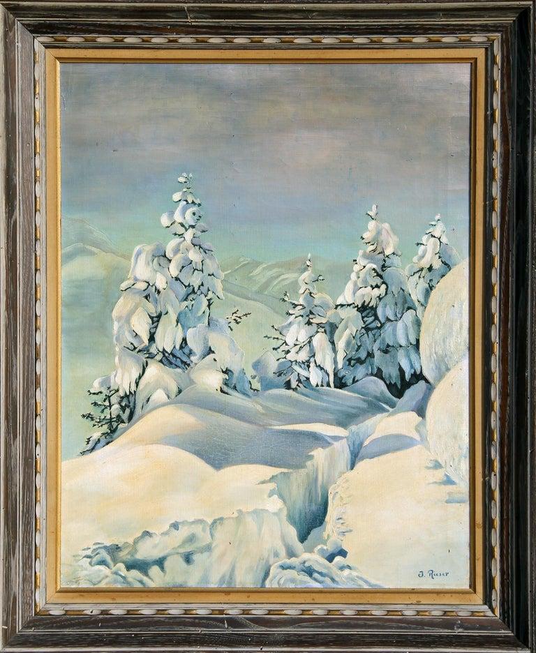 J. Rieser Landscape Painting - Snowy Mountain Landscape, Oil Painting c1935