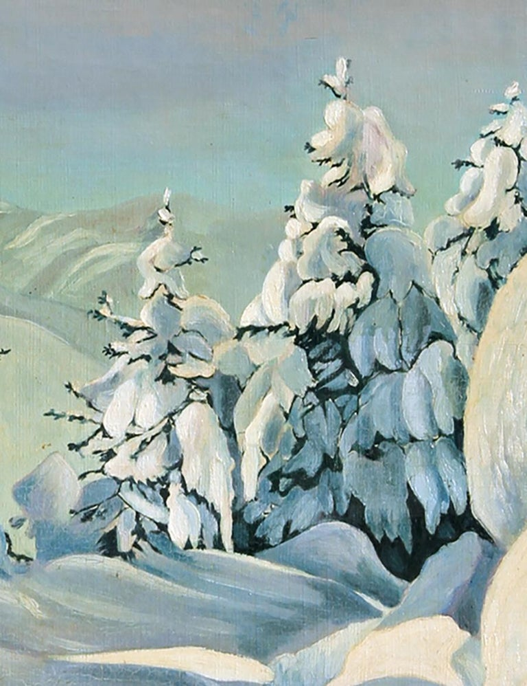 Artist: J. Rieser, Swiss or German XXth Century Title: Snowy Landscape Year: circa 1935 Medium: Oil on Canvas, signed lower right Size: 28 in. x 22 in. (71.12 cm x 55.88 cm) Frame Size: 34 x 28 inches