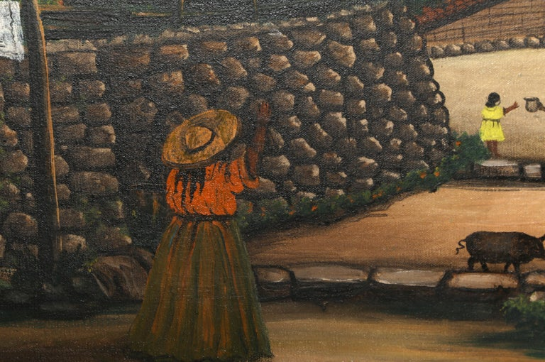 San Antonio de Oriente, Honduras, Painting by Jose Antonio Velasquez 1957 For Sale 2