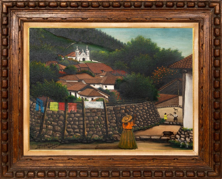 Artist: Jose Antonio Velasquez, Honduran (1906 - 1983) Title: Honduras Year: 1957 Medium: Oil on Canvas, signed, titled, and dated lower left Size: 20.5 x 27 inches Frame Size: 30 x 36.5 inches