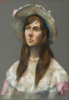 Portrait of a Young Woman, Pastel Drawing by Thomas Strickland