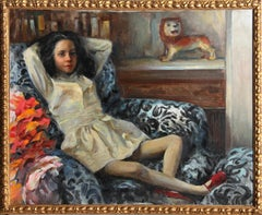 Young Girl on a Couch, Oil Painting by Marshall Goodman