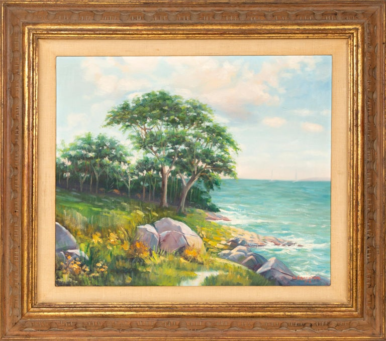 Artist: Abraham Rosenthal, American (1886 - 1963) Title: Rocky Shoreline Year: 1957 Medium: Oil on Canvas Board, signed Size: 20 x 24 in. (50.8 x 60.96 cm) Frame: 29 x 33 inches