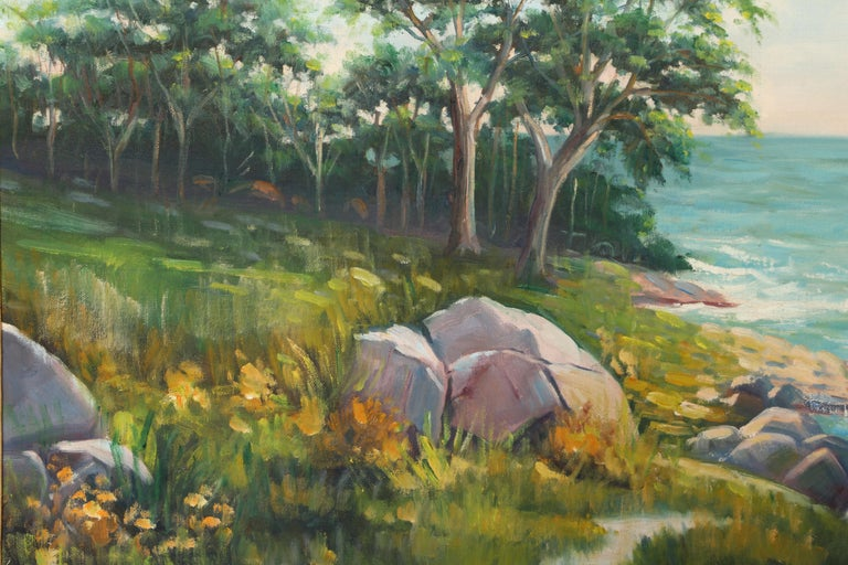 Rocky Shoreline, Landscape Oil Painting by Abraham Rosenthal  For Sale 1