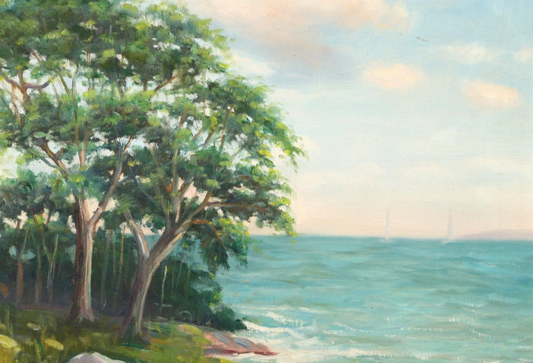 Rocky Shoreline, Landscape Oil Painting by Abraham Rosenthal  For Sale 2