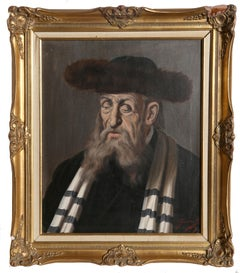 Rabbi with a Fur Hat, Oil Painting by Jeno Gussich