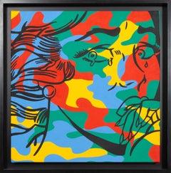 Lichtenstein Meets Warhol, Pop Art Oil Painting by Corinna Heumann