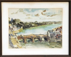 Swiss Landscape with Bridge, Watercolor Landscape