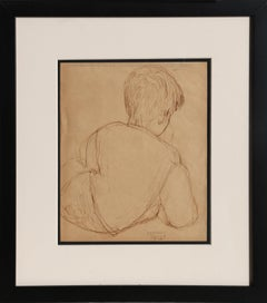 Boy Reclining, Ink Drawing by Raphael Soyer