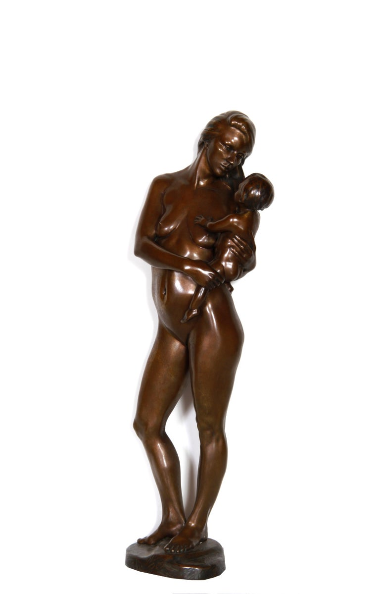 Kuno Lange Figurative Sculpture - Mother and Newborn Child, Bronze Sculpture