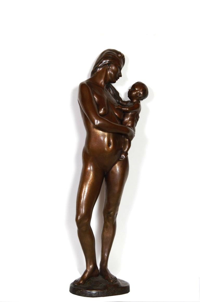 Artist: Kuno Lange, German (1950 - ) Title: Mother and Newborn Year: 1997 Medium: Bronze Sculpture, signature and number on base Edition: 2/9 Size: 28 in. x 7 in. x 3.5 in. (71.12 cm x 17.78 cm x 8.89 cm)