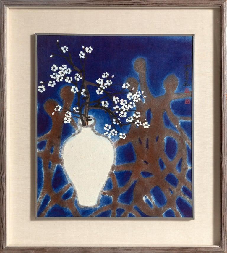Bong-Kyu Ahn Still-Life Painting - Flowers & Human, Expressionist Still Life Painting