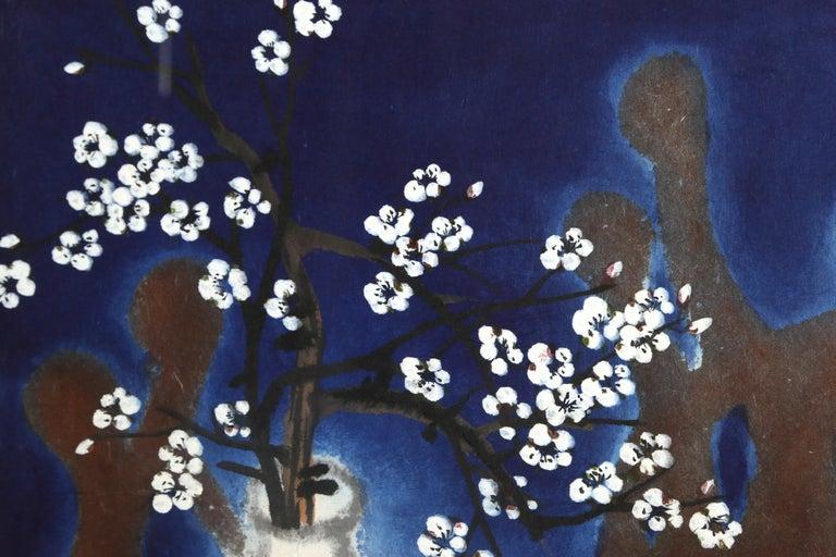 Flowers & Human, Expressionist Still Life Painting - Black Still-Life Painting by Bong-Kyu Ahn