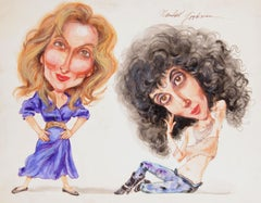 Meryl Streep & Cher, Caricature Drawing by Marshall Goodman