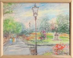 Central Park, Landscape Pastel by Kamil Kubik