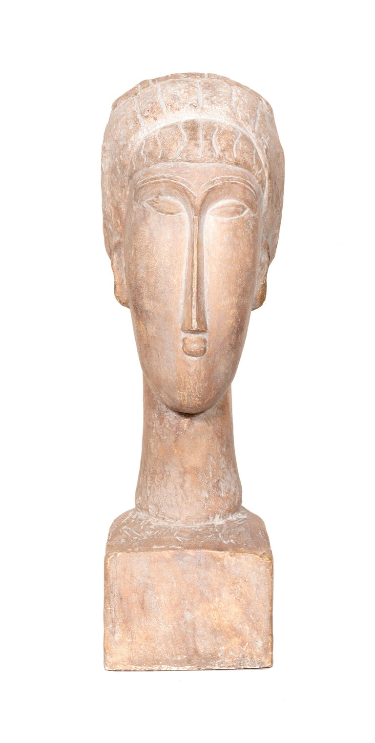 Tete de Femme after Modigliani, produced by Austin Productions in 1963. Austin Productions started in Brooklyn in 1952 and began manufacturing reproductions of classic sculptures by popular artists. Known for their high-quality pieces that are