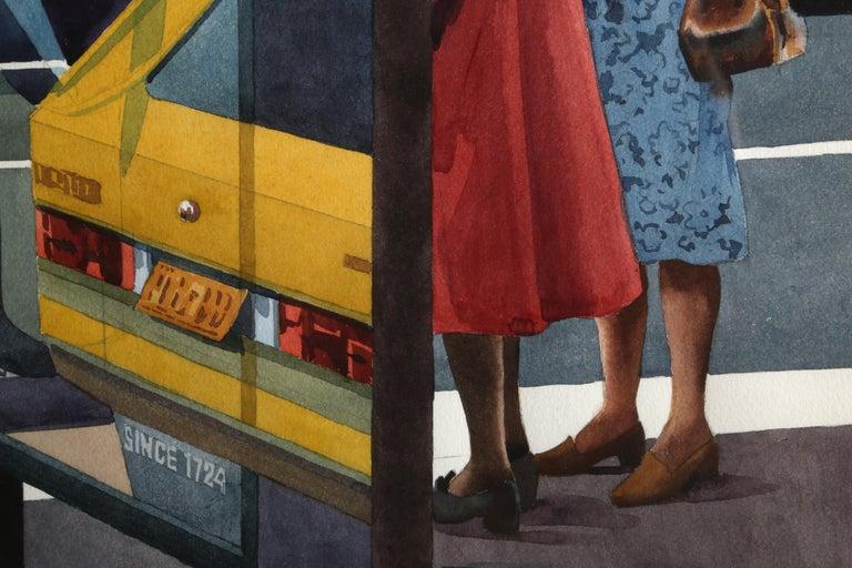 Bus Stop, New York City - American Realist Art by Don David