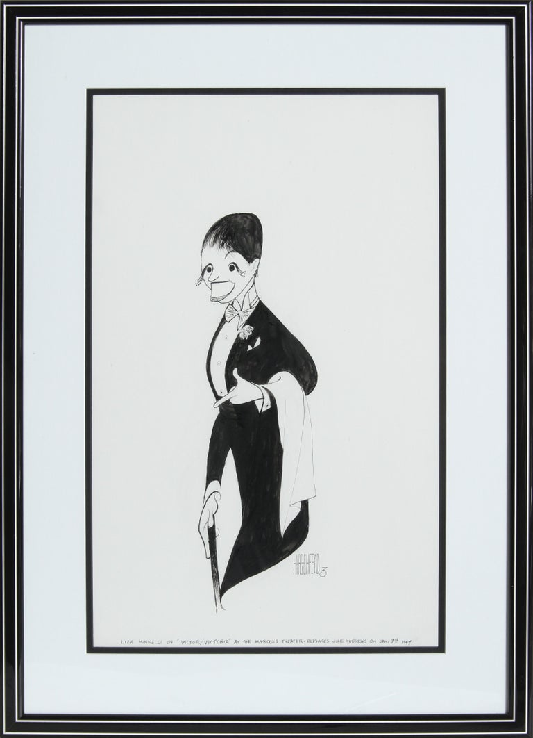Albert Al Hirschfeld Portrait - Liza Minnelli from Victor/Victoria, Drawing by Al Hirschfeld