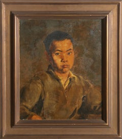 Portrait of a Boy, Kong, Oil Painting circa 1930 by Charles Cabot Daniels