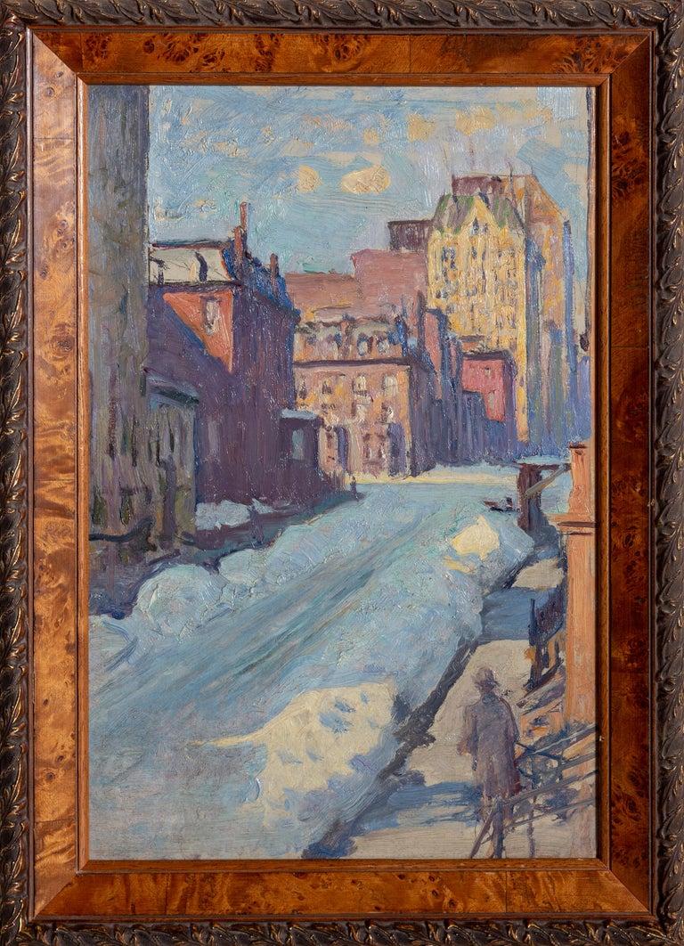 Kenneth Frazier Landscape Painting - Winter Street Scene, New York City