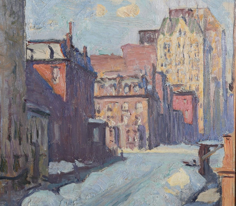 Winter Street Scene, New York City - Painting by Kenneth Frazier