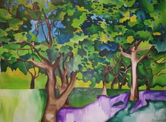 Trees, Large Watercolor Painting by Richard Karwoski