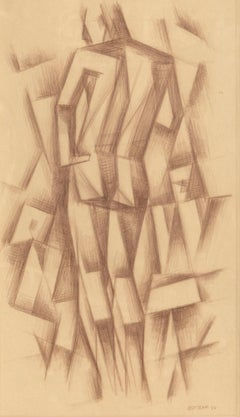 Standing Figure, Cubist Drawing by Emil Bissttram