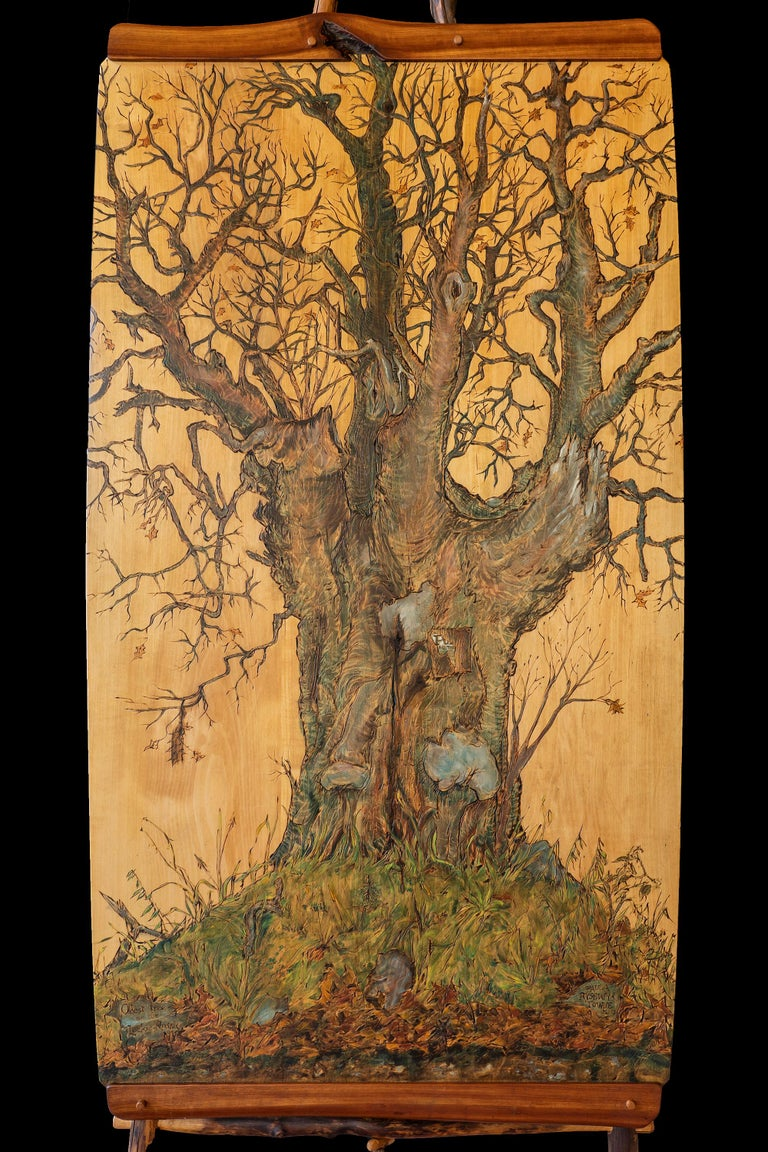 Paula Towne Landscape Painting - Oldest Tree on the Lockie Road, Rossie New York