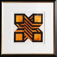 Golden X, Geometric Painting by Jules Engel 1970