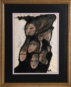 Faces, Mixed Media Painting by Joe Eula 1965