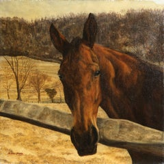 Battlesea, the T-More Mare, Horse Painting by Helene Alison