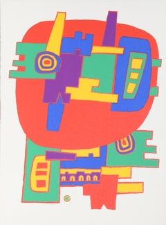 Red Colorful Abstract Psychedelic, Silkscreen by Jacques Soisson
