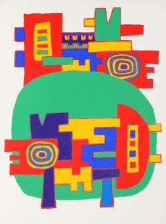 Green Psychedelic Silkscreen by Jacques Soisson