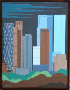 Downtown New York Skyline, Oil Painting by Allan Simpson
