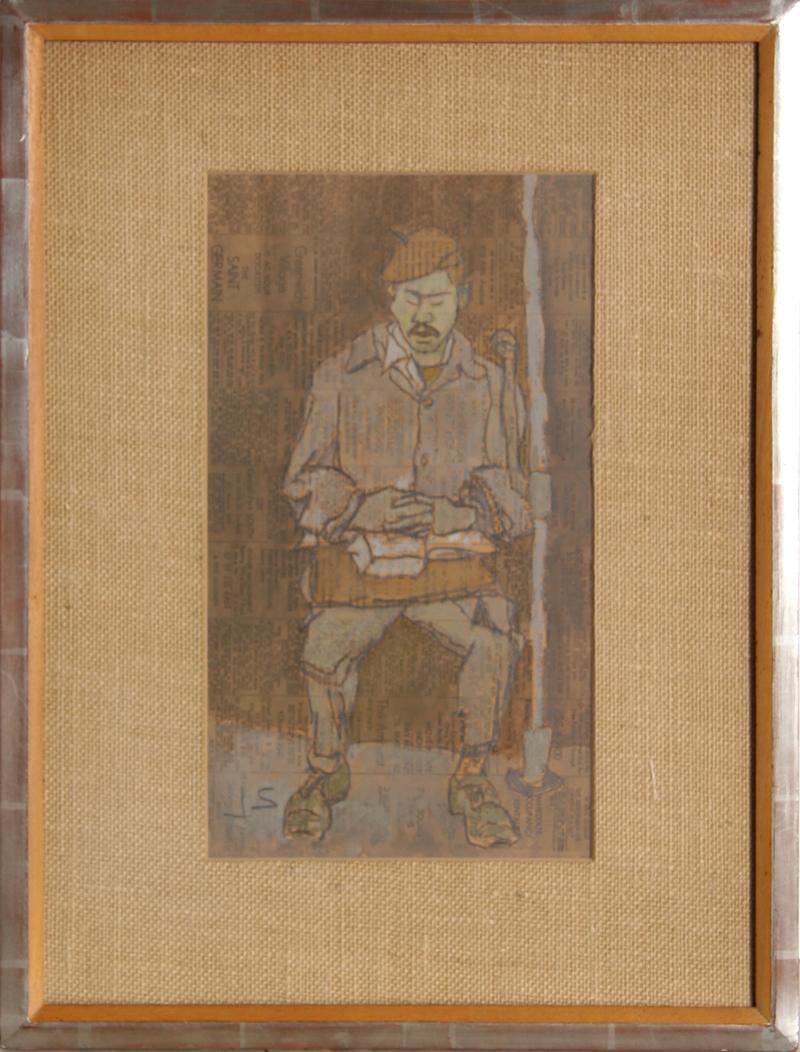 Man with Mustache on Subway, Gouache Painting by Joseph Solman