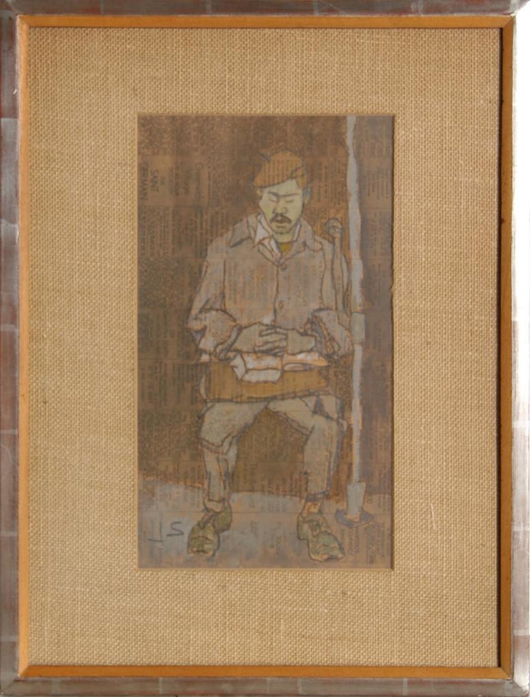 Artist:Joseph Solman, American (1909 - 2008) Title:Man with Mustache Year:circa 1965 Medium:Gouache on Racing Form, Signed 'JS' l.l. Size:14 in. x 8 in. (35.56 cm x 20.32 cm) Frame: 21 x 16 inches