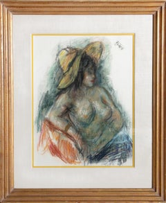 Seated Nude Woman in Yellow Hat, Pastel Drawing by Robert Philipp