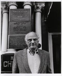Arthur Miller outside the Chelsea Hotel