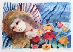 Reclining Woman and Flowers, Watercolor Painting by Charles Levier