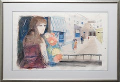 Shop Girl with Flowers, Watercolor Painting by Charles Levier