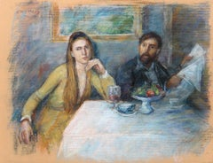 Couple at a Table, Pastel Drawing