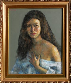 Woman in Blue, Pastel by Thomas Strickland