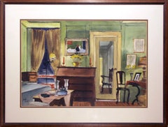 Dining Room Interior, Pastel Drawing by Joseph Barber