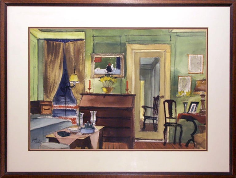 Artist: Joseph Barber, American (1915 - 1998) Title: Dining Room Interior Year: circa 1945 Medium: Watercolor and Pastel on Paper, signed l.l. Size: 15 x 21 inches (38 x 53.5 cm) Frame: 22 x 29 inches (56 x 74 cm)