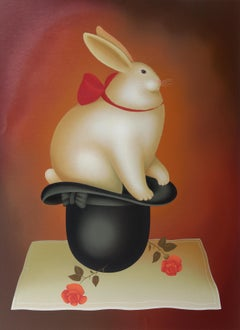 Rabbit in Hat, Serigraph by Igor Galanin