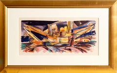 """Gold Dredgers"" Sacramento, Watercolor by Wayne Thiebaud"