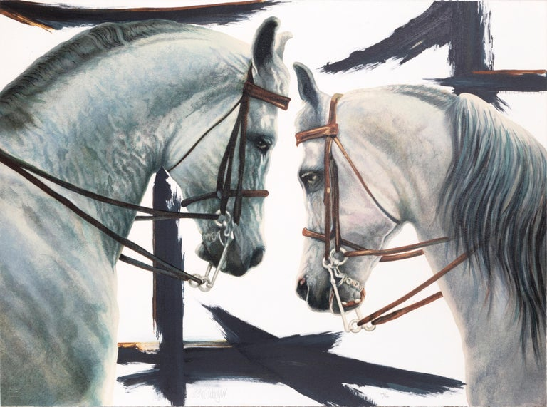 Artist: Popo and Ruby Lee Title: Horses Year: circa 1980 Medium: Lithograph, signed and numbered in pencil  Edition: 206/400 Size: 24  x 32 in. (60.96  x 81.28 cm)